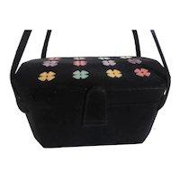 Rare & Fabulous 1950s Waldman Box Purse Black w Multi-Colored Flowers on Lid