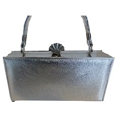 Vintage 70's Silver Leather Box Purse Handbag w Coronet Change Purse