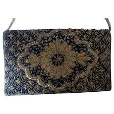 Vintage Zardozi Embroidered Evening Bag Purse Velvet Metal Thread Embroidery