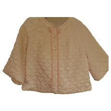 """1938 Satin Quilted Bed Jacket """"Dream Puff"""" by Barbizon Med-Large"""