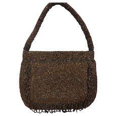 1940s Copper Glass Beaded Evening Bag Purse