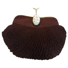 Vintage Pleated Silk Evening Bag Purse with Carved Celluloid Clasp