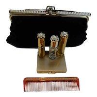 Black Velvet Clutch and 5 Piece Accessory Set – Powder Compact, Lighter, Lipstick Holder, Perfume Bottle & Comb MINT