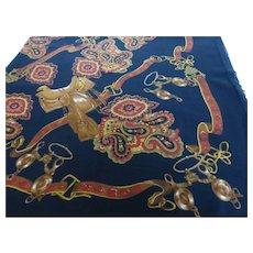 Fine Wool Scarf Shawl Equestrian Design Italy