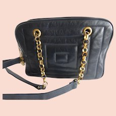 Jay Herbert by Sharif Navy Blue Quilted Leather Shoulder or Cross Body Purse