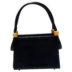 Vintage 1960s Koret Navy Blue Goatskin Micro Handbag with Coin Purse MINT
