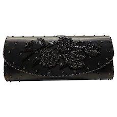 Black Beaded Evening Bag Clutch Purse