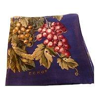 Vintage ECHO Silk Scarf 'Grapes'