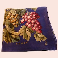 Vintage ECHO Silk Scarf 'Grapes'