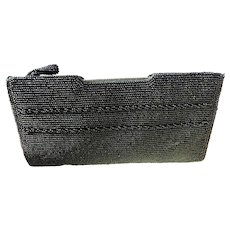 Black Beaded Clutch Purse by Bags by Debbie for John Wind