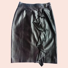 Yves Saint Laurent Brown Leather Skirt with Ruffle Made in Italy Size 40 or US 10 MINT