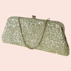 Vintage 1960s Silver Glitter Clutch Evening Bag Purse