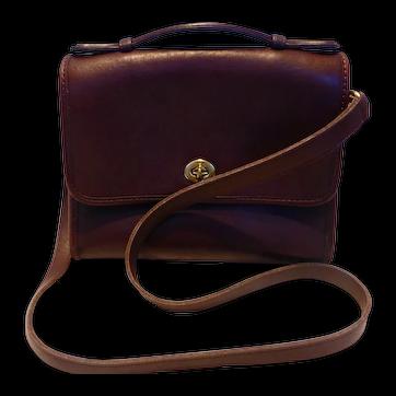Vintage COACH Brown Leather Court Bag Cross Body or Shoulder