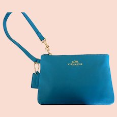 Coach Turquoise Leather Wristlet Pouch Bag
