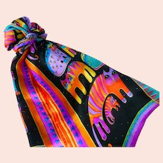 Vintage Laurel Burch 'Rainbow Cats' Long Silk Scarf