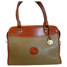 Vintage Dooney & Bourke All Weather Leather Handbag Taupe with British Tan
