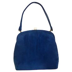 Navy Blue Suede Purse Handbag Early 1960s