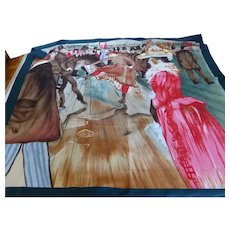 "Nicole De Beauvoir (Paris) Scarf Toulouse-Lautrec "" At the Moulin Rouge, the Dance"""