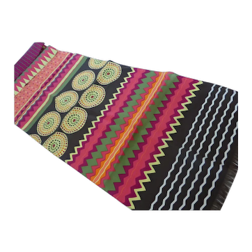 Long Geometric Silk Scarf