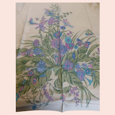Vintage Thai Silk Scarf Floral w Butterflies 35 Inches