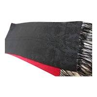 Long Silk Fringed Scarf Black and Red