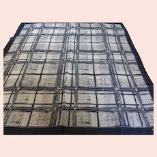 Vintage Echo Black & Tan Silk Scarf