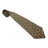Salvadore Ferragamo Golfers Print Silk Tie Necktie