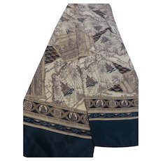 Long Double-Sided Silk Twill Scarf New England Historical Maps Motif