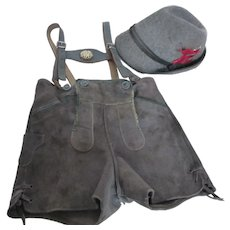 Vintage Boy's Bavarian Leather Lederhosen and Tyrolean Hat Austria Germany Size 8