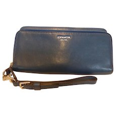 Blue Leather Coach Double Zipper Wristlet Wallet