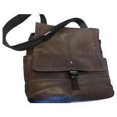 Vintage Coach Leather Messenger Bag Brown Large