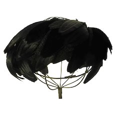 Vintage Black Silk Velvet Feather Hat