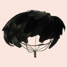 Vintage Black Silk Velvet Feather Hat