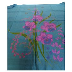 Thai Silk Scarf Tropical Floral w Butterflies 35 Inches