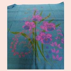 Thai Silk Scarf Tropical Floral w Butterflies 35 Inches
