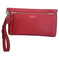 Coach Raspberry Pebble Leather Wristlet Pouch