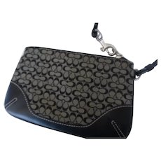 Coach Wristlet Pouch in Signature Jacquard and Leather