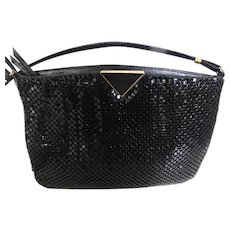 Vintage Black Metal Mesh Shoulder or Cross-Over Purse MINT