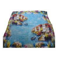 French Silk Scarf w Monet's Houses On The Waters