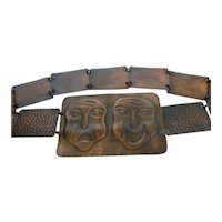 Mid-Century Copper Comedy  &Tragedy Theatrical Link Belt