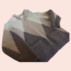 Vintage Hand Knit Heavy Wool Zip Front Sweater