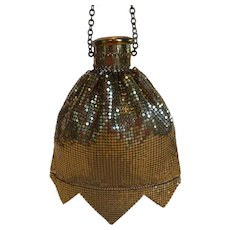 Whiting and Davis Gold Mesh Purse Accordion Gate Top