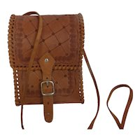 Vintage Tooled Leather Cross Body Shoulder Bag Purse Mexico
