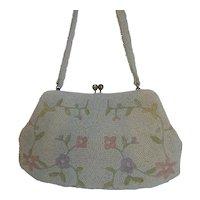Vintage Beaded Purse Bag White w Pastel Flowers