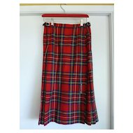 1970's Wool Tartan Kilt Skirt by Laird-Portch of Scotland in Red, Blues & Greens