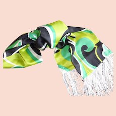 1960's Long Fringed Scarf Mod Art Design