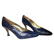 Vintage Blue Snakeskin High Heel Shoes Size 11M