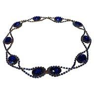 Fabulous Vintage Sapphire Blue Rhinestone Belt