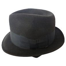 Vintage Black Bond Executive Model Fedora Hat Size 7 1/4