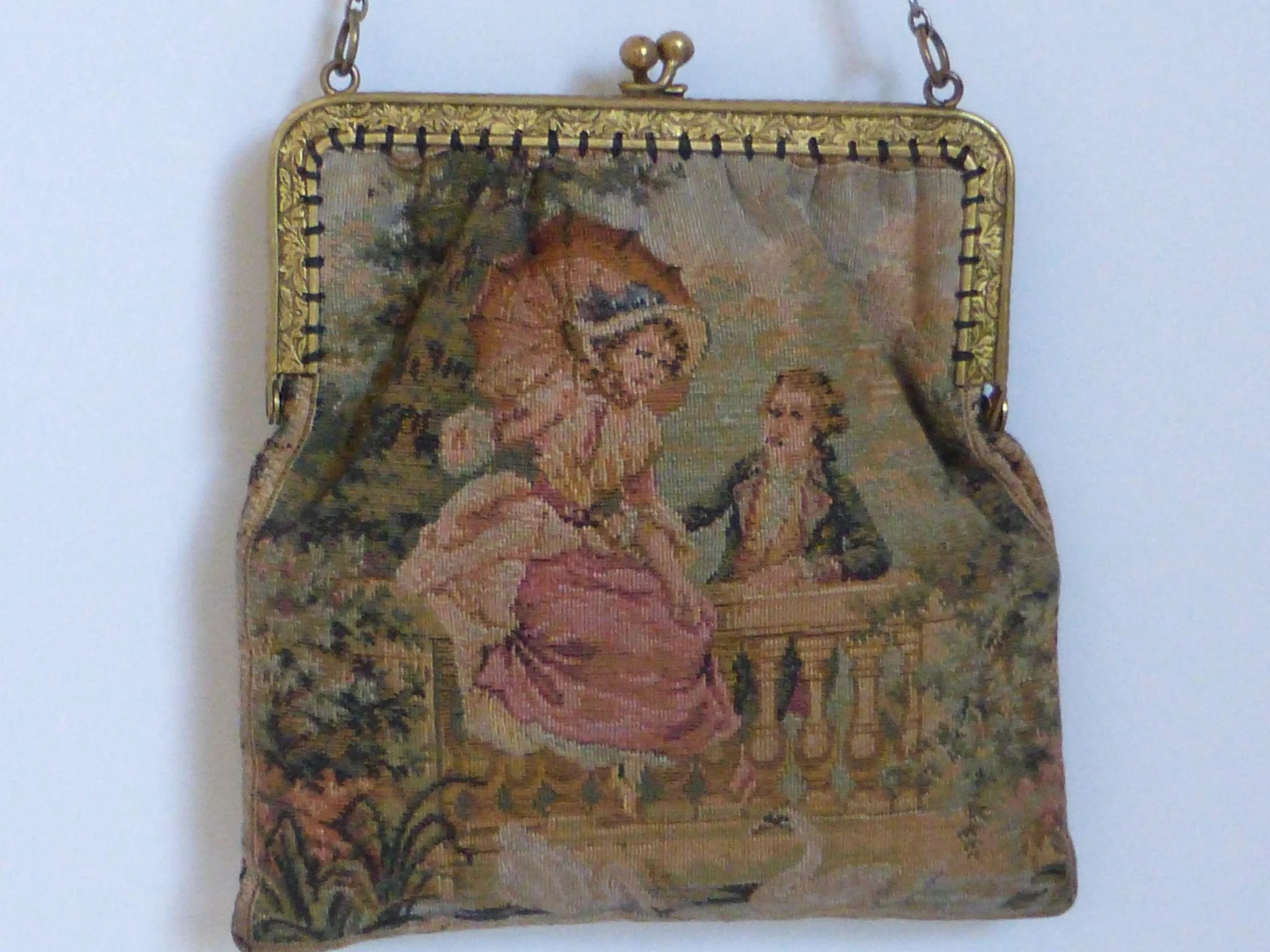 Antique French Aubusson Tapestry Purse Historique Ruby